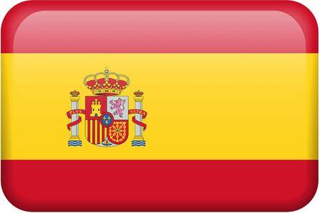 Spanische Flagge rechteckige Taste. Ein Teil der Satz von Land Flaggen in allen 2:3 Anteil genaue Design und Farben.  Standard-Bild - 2734260
