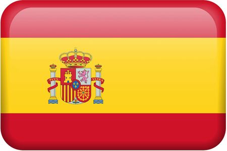 Spanish flag rectangular button.  Part of set of country flags all in 2:3 proportion with accurate design and colors.