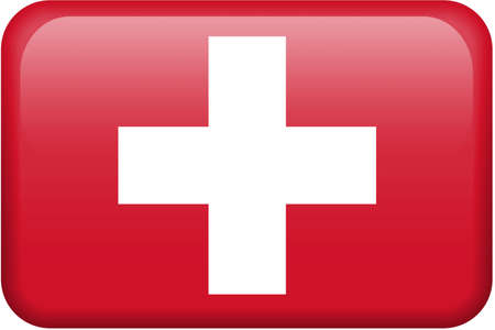 Swiss flag rectangular button.  Part of set of country flags all in 2:3 proportion with accurate design and colors.