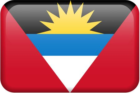 Antiguan flag rectangular button.  Part of set of country flags all in 2:3 proportion with accurate design and colors. Reklamní fotografie