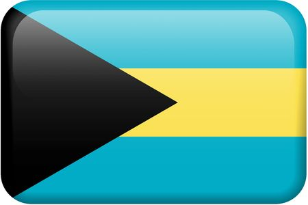 Bahamian flag rectangular button.  Part of set of country flags all in 2:3 proportion with accurate design and colors.