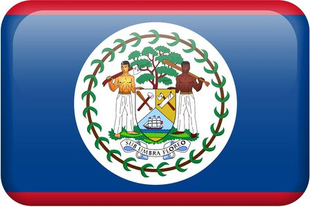 Belizean flag rectangular button.  Part of set of country flags all in 2:3 proportion with accurate design and colors. Reklamní fotografie