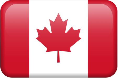 Canadian flag rectangular button.  Part of set of country flags all in 2:3 proportion with accurate design and colors.