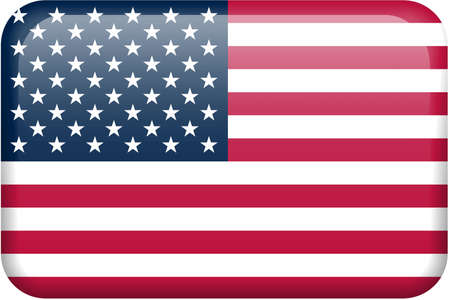 American flag rectangular button.  Part of set of country flags all in 2:3 proportion with accurate design and colors.