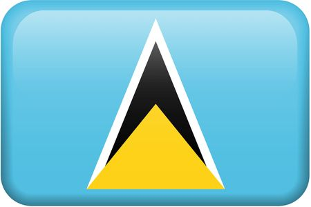 St. Lucian flag rectangular button.  Part of set of country flags all in 2:3 proportion with accurate design and colors.