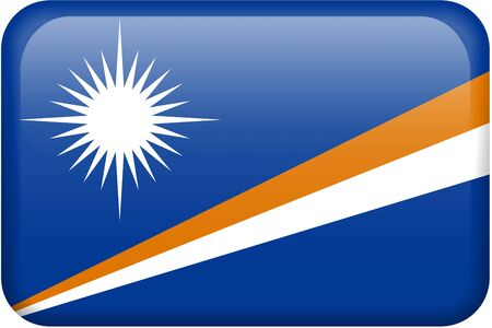Marshall Islands flag rectangular button.  Part of set of country flags all in 2:3 proportion with accurate design and colors.