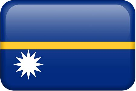 Nauru flag rectangular button.  Part of set of country flags all in 2:3 proportion with accurate design and colors. Stock Photo