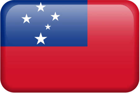 Samoan flag rectangular button.  Part of set of country flags all in 2:3 proportion with accurate design and colors.