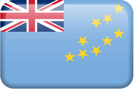Tuvalu flag rectangular button.  Part of set of country flags all in 2:3 proportion with accurate design and colors.