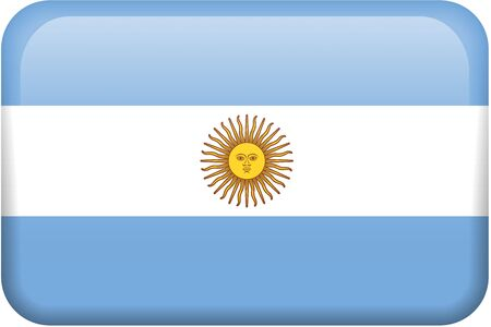 Argentine flag rectangular button.  Part of set of country flags all in 2:3 proportion with accurate design and colors. Reklamní fotografie