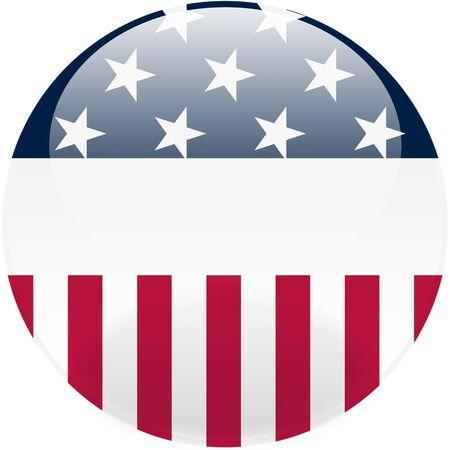 글로시 미국 라운드 버튼