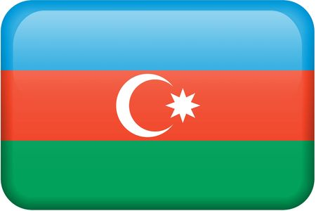 Azerbaijani flag rectangular button.  Part of set of country flags all in 2:3 proportion with accurate design and colors. Reklamní fotografie