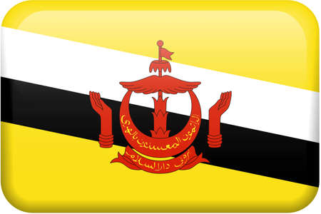 Bruneian flag rectangular button.  Part of set of country flags all in 2:3 proportion with accurate design and colors.
