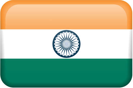 Indian flag rectangular button.  Part of set of country flags all in 2:3 proportion with accurate design and colors. Stock Photo