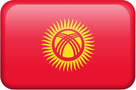 Kyrgyz flag rectangular button.  Part of set of country flags all in 2:3 proportion with accurate design and colors.
