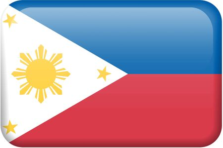 Philippine flag rectangular button.  Part of set of country flags all in 2:3 proportion with accurate design and colors.