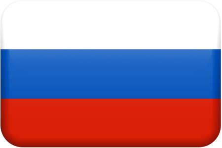 Russian flag rectangular button.  Part of set of country flags all in 2:3 proportion with accurate design and colors.