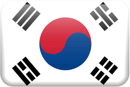 South Korean flag rectangular button.  Part of set of country flags all in 2:3 proportion with accurate design and colors.