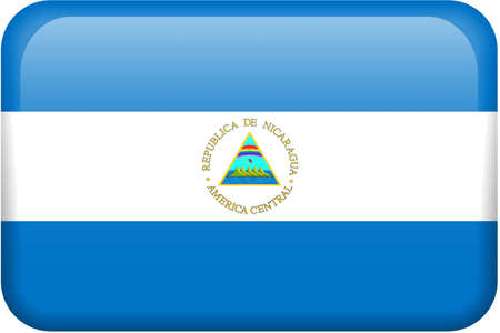 Nicaraguan flag rectangular button.  Part of set of country flags all in 2:3 proportion with accurate design and colors.