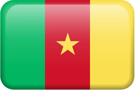 Cameroonian flag rectangular button.  Part of set of country flags all in 2:3 proportion with accurate design and colors.