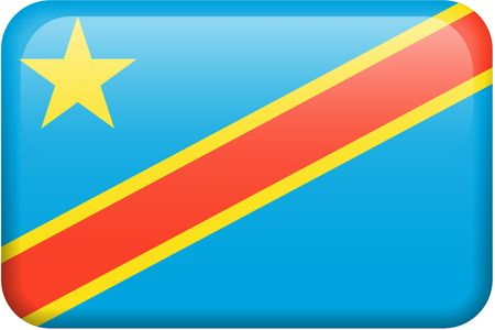 Congolese flag rectangular button.  Part of set of country flags all in 2:3 proportion with accurate design and colors.