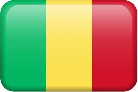 Malian flag rectangular button.  Part of set of country flags all in 2:3 proportion with accurate design and colors.