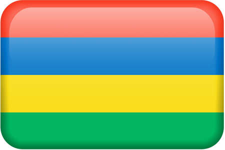 Mauritian flag rectangular button.  Part of set of country flags all in 2:3 proportion with accurate design and colors.