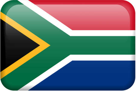 South African flag rectangular button.  Part of set of country flags all in 2:3 proportion with accurate design and colors.