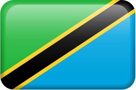 Tanzanian flag rectangular button.  Part of set of country flags all in 2:3 proportion with accurate design and colors. Reklamní fotografie