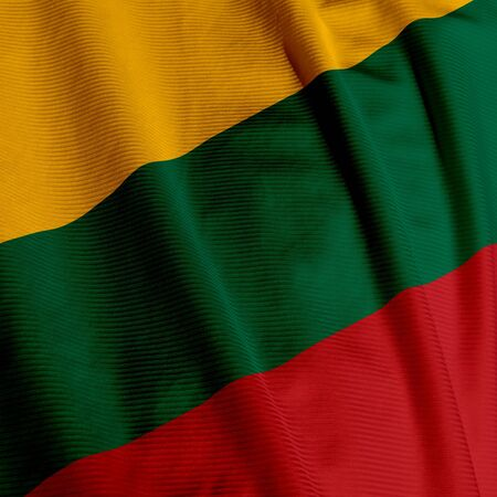 Close up of the flag of Lithuania, square image