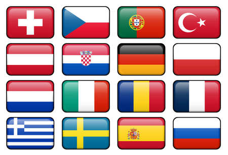 European football championship 2008 rectangular buttons.  Flags from all 16 participating countries. Stock Photo