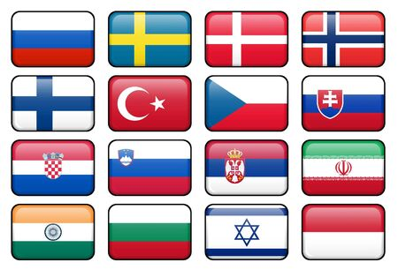 Set of rectangular flag buttons representing some of the most popularly used languages. Imagens