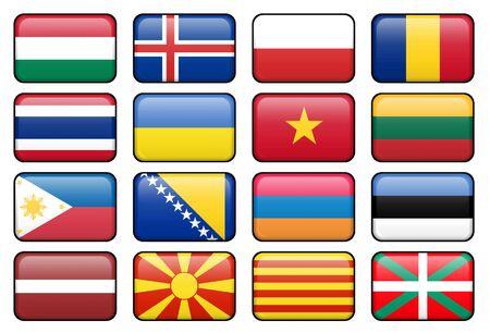 Conjunto de bandera rectangular botones que representan a algunos de los más popularmente utilizados idiomas.  Foto de archivo