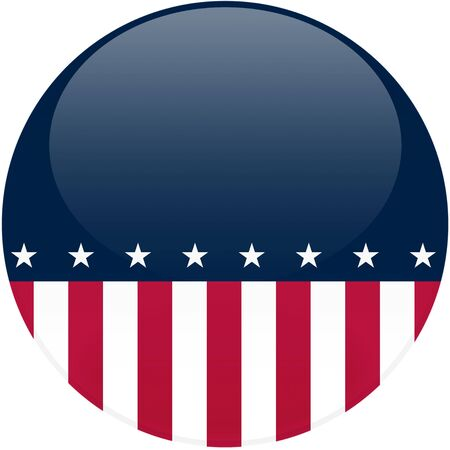 선거 테마 둥근 버튼 3d 효과, 미국 국기와 복사본 공간 - 포함하는 클리핑 패스