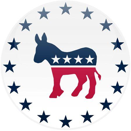 選挙テーマ ラウンド民主党ロゴ - クリッピング パスが含まれている 3 d 効果を持つボタン