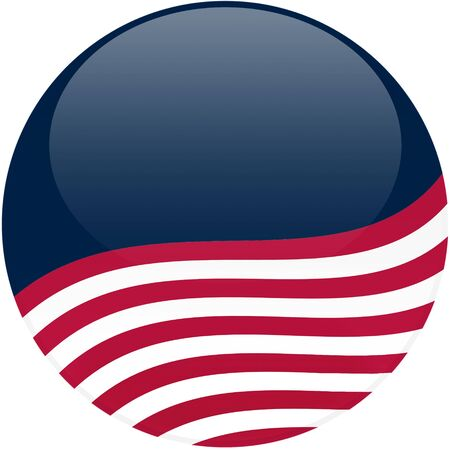 Election themed round button with 3d effect, American flag - clipping path included Banco de Imagens