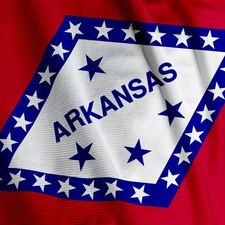 Close up of the flag of the US State of Arkansas, square image Stock Photo - 3117833