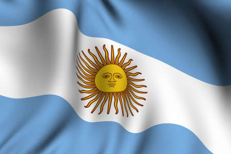 argentina flag: Rendering of a waving flag of Argentina with accurate colors and design.