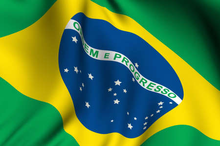 Rendering of a waving flag of Brazil with accurate colors and design.