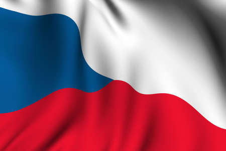 Rendering of a waving flag of the Czech Republic with accurate colors and design. 版權商用圖片