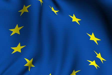 Rendering of a waving flag of the European Union with accurate colors and design.
