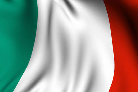 Rendering of a waving flag of Italy with accurate colors and design.