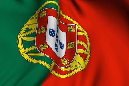 Rendering of a waving flag of Portugal with accurate colors and design. photo