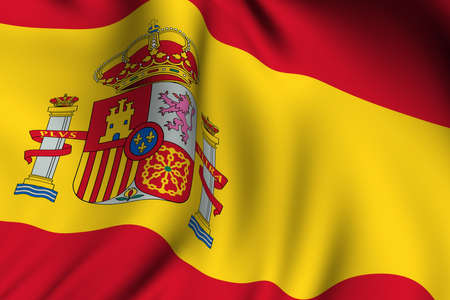 waving: Rendering of a waving flag of Spain with accurate colors and design. Stock Photo