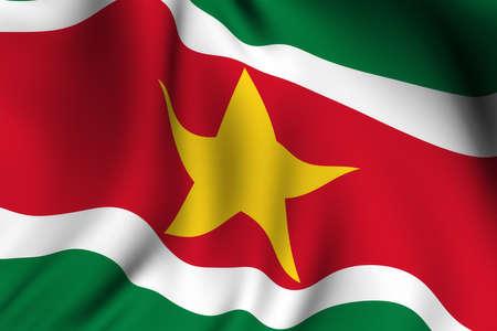 suriname: Rendering van een wapperende vlag van Suriname met accurate kleuren en design.