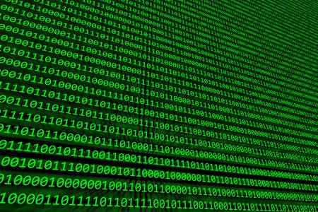 Abstracte achtergrond van binaire code verlicht op een groen scherm Stockfoto