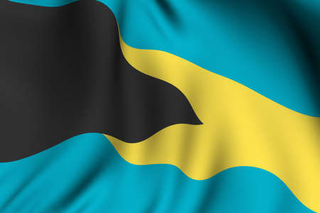 bahamian: Rendering of a waving flag of the Bahamas with accurate colors and design.