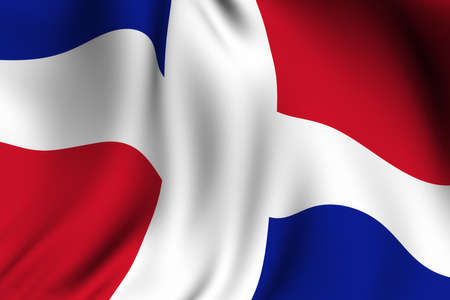 Rendering of a waving flag of the Dominican Republic with accurate colors and design. Imagens