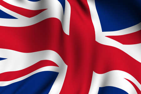 europe closeup: Rendering of a waving flag of the United Kingdom with accurate colors and design.