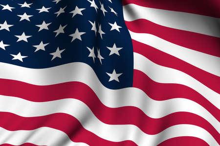 Rendering eines winkenden Flagge der Vereinigten Staaten von Amerika mit präzisen Farben und Design.  Standard-Bild - 3295946
